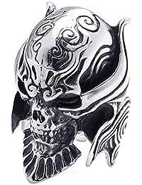 KONOV Joyería Anillo de hombre, Calavera Cráneo Tribal Gótico Biker, Acero inoxidable, Color negro plata (con bolsa de regalo)