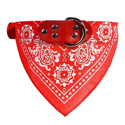 probeninmappx Einstellbare Hund Bandana Halstuch Hundehalsband Welpen Katze Schal Kragen Drucke Krawatte Kragen Zubehör, Rot 42 * 2 cm -