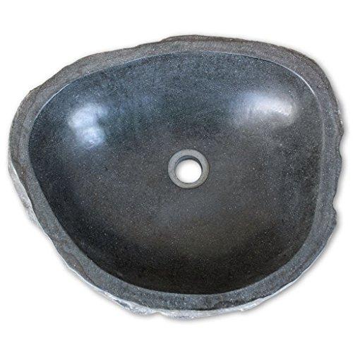 tidyard Lavabo in Pietra Naturale per Bagno 46-52 cm, Lavandino Ovale in Pietra del Fiume, Creativo Lavabo da Appoggio