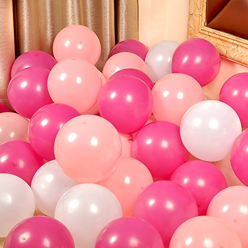 100 globos de 12 pulgadas para decoración de fiesta de cumpleaños y eventos, color incluye (blanco rosa claro)