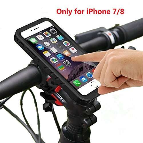 SPORTLINK Soporte iPhone 7 Bicicleta con Funda Impermeable, iPhone 8 Bike Mount Holder, 360° Rotación, Soporte de Bicicleta Funda para iPhone 7/8, para Bicicletas Ciclismo MTB GPS de Montaña (Negro)