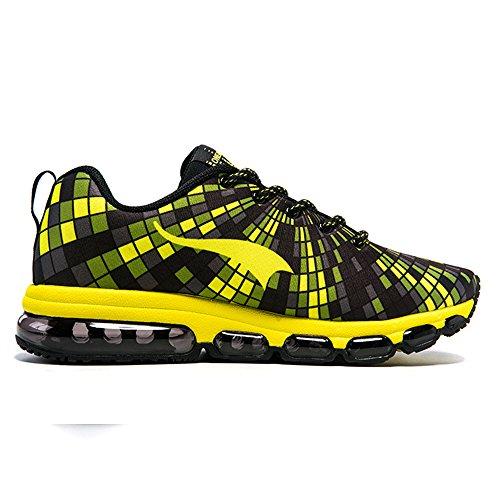 Onemix Men Lightweight Mesh Air Cushion Outdoor Sport Running Shoes Casual Shoes Yellow Black