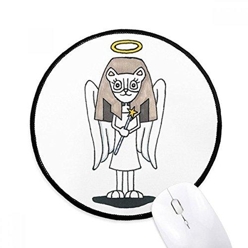 DIYthinker Engel Bastet Flügel Halo Stern Runde Griffige Mousepads Schwarz Titched Kanten Spiel Büro-Geschenk