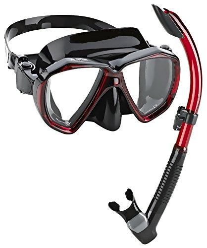 Phantom Aquatics Velocity Scuba Snorkeling Mask Snorkel Set, noir/rouge