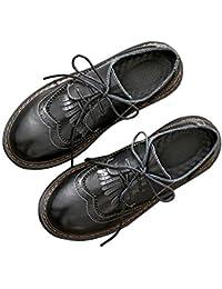 SXSHUN Mocasines Loafer para Niñas Zapatos de Cuero para Uniforme Colegio con Cordones
