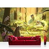 Vlies Fototapete 312x219cm PREMIUM PLUS Wand Foto Tapete Wand Bild Vliestapete - Disney Tapete Küss den Frosch Princess & Frog Prinzessin Cartoon Illustration braun - no. 1731