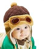Gorra de invierno unisex para niños, de WITERY, gorra cálido, diseño de piloto de aviones [Warm Hats]Coffee Talla única