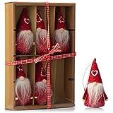 com-four® 6X Premium Weihnachtsmann-Anhänger in Rot für den Weihnachtsbaum, Verschiedene Christbaum-Figuren Anhänger als Baumbehang, Weihnachtsschmuck oder Geschenk-Anhänger (06 Stück - Wichtel rot)