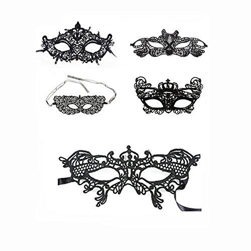 JingHeYongKeJi Frauen Schnüren Maske Mit 5 Satz Maskerade Masken Für Karneval, Kostüm-Partei Und Andere Parteien Im Schwertkopf, Tiger, Zorro, Krone, Big Butterfly Style ()