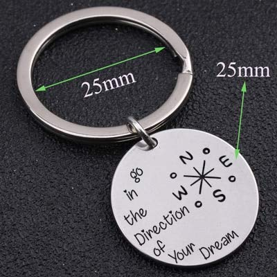 n in die Richtung Ihres Traums Schlüsselanhänger Kompass Muster für inspirierende Abschlussfeier Schmuck Freunde Tasche Charm Silber eingraviert ()