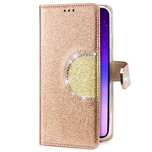 Uposao Kompatibel mit Samsung Galaxy J5 2016 Handyhülle Handy Tasche Luxus Glitzer Diamant Bling Glänzend Schutzhülle Flip Case Brieftasche Klapphülle Bookstyle Leder Hülle Standfunktion,Gold -
