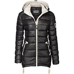 Chaqueta para mujer, abrigo acolchado largo, parka, chaqueta para entretiempo, con capucha, con cremallera negro 42