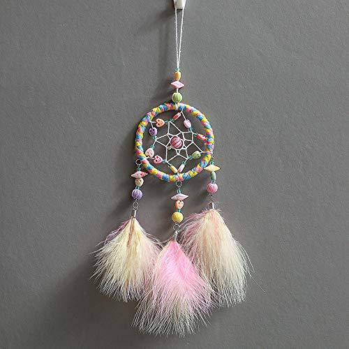 Tyhbelle Handgewebter Traumfänger Mini Dreamcatcher mit Perlen Feder für Zimmerdekoration Traumfänger (Mini-Farbig)