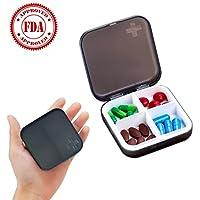 Preisvergleich für Zoiibuy Tablettenbox Pillendose Wasserdichter Pillenbox Tablettendose mit 4 Fächern für Geldbeutel oder Tasche...