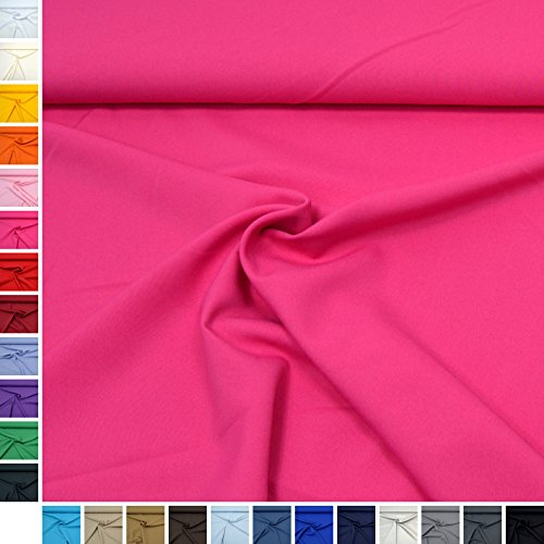 MAGAM-Stoffe Allround-Stoff ''Mara'' Blickdicht und knitterarm, ideal für Kostüme, Tischdecken, Dekostoff - Meterware ab 50cm (06. Pink)