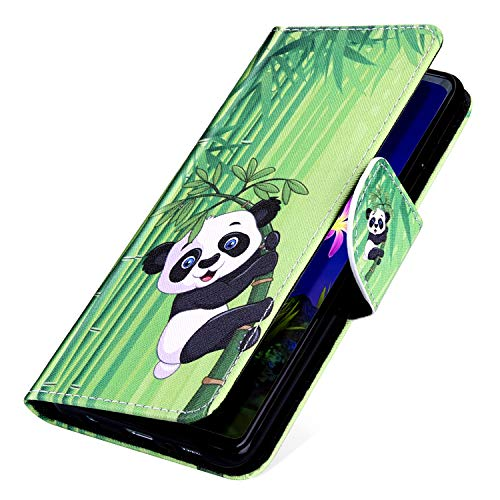 MoreChioce kompatibel mit ipod Touch 6 Hülle,kompatibel mit ipod Touch 5 Leder Wallet Case,Bunt Panda Bambus Muster Bookstyle Klappbar Stand Flip Etui Handyhülle Magnetische mit Karte - Ipod Panda Fall