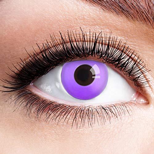Farbige Kontaktlinsen Lila Motivlinsen Ohne Stärke mit Motiv Linsen Halloween Karneval Fasching Cosplay Kostüm Violett Neon Purple Eye