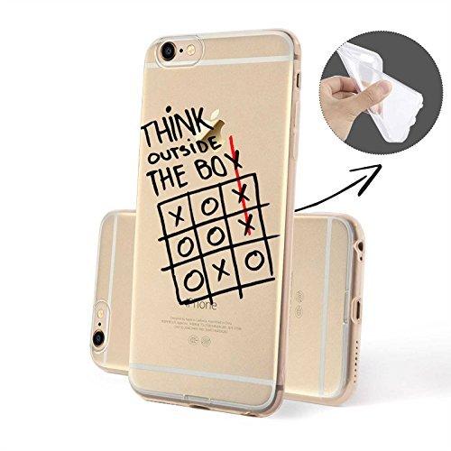 FINOO Handyhuelle Trasparente Silicone Motivo 2 - Targa TPU, iPhone 6/6S Pensare fuori TPU
