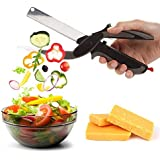 Zomoza 2 In 1 Smart Food Chopper With Cutting Board - Stainless Steel Multipurpose Kitchen Clever Cutter For Fruits Salad BBQ Party