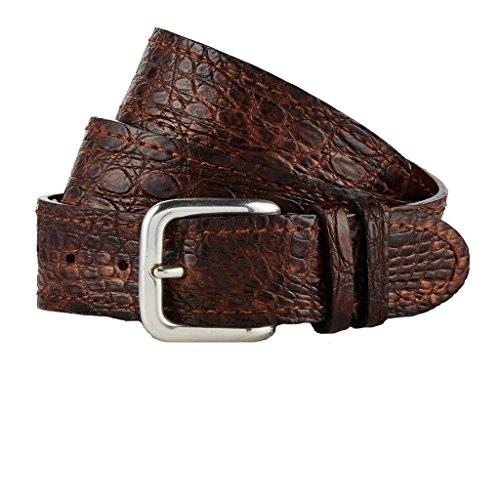 GUT INSTINKT - Cinturón de piel de cocodrilo real de cuero italiano de lujo artesanal - YOLNGU (Marrón 95cm)