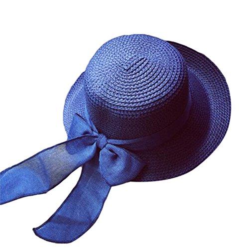 Yuncai Été Mode Bowknot Chapeaux de Soleil Pliable Pêcheur Chapeau de Paille Bleu