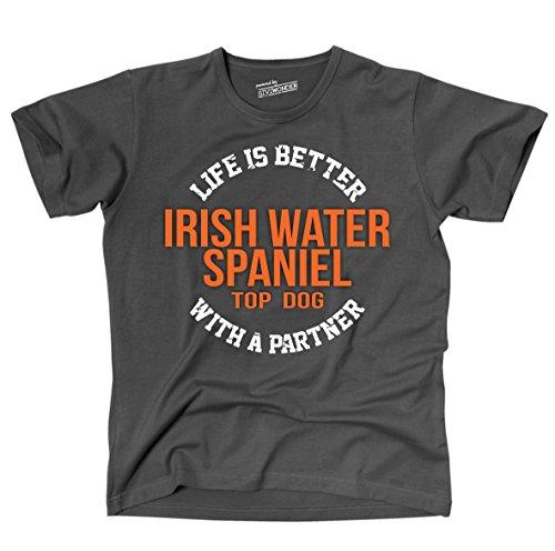 Siviwonder Unisex T-Shirt IRISH WATER SPANIEL - LIFE IS BETTER PARTNER Hunde Dark Grey