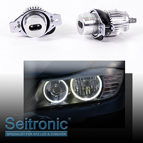Seitronic® Brennerleuchten in Xenon Weiß OHNE Fehlermeldung mit langer Lebensdauer sowie als Standlicht einsetzbar. LED Angel Eyes mit effizienten 6 Watt und einer Farbstärke von 8000 Kelvin.