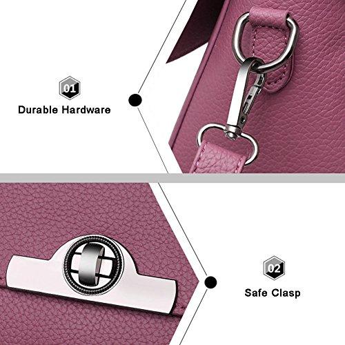 Sacchetti alla moda Yoome per le ragazze Lichee Patern Top Bag Handle Borse eleganti in pelle Vegan per le donne - Borgogna Rosa