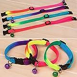 Hemore Hundehalsband für Hunde und Katzen, mit Glöckchen, strapazierfähig, Nylon, modisch, bequem, verstellbar, mit Schnalle, zufällige Farbe