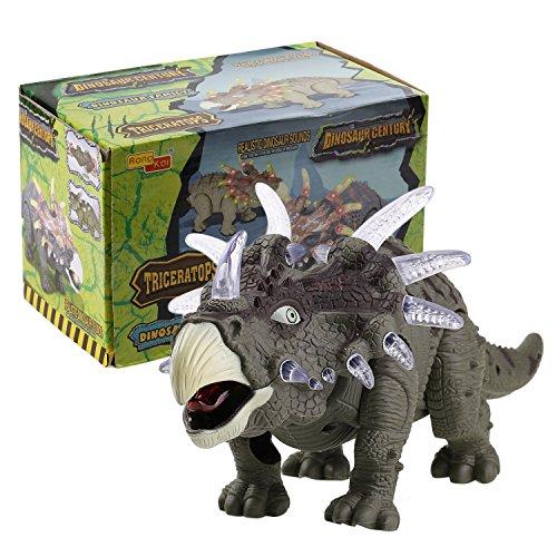 Dinosaurier Spielzeug Triceratops, Elektronisch Batteriebetrieben, Beweglich und mit Realistische Stimme, 35cm,ab 3