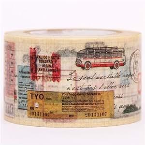 Nastro adesivo decorativo Washi viaggi biglietto autobus