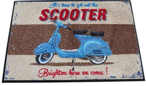 WMK Fußmatte Motorroller Scooter 50 x 70 cm, waschbar - Design Martin Wiscombe