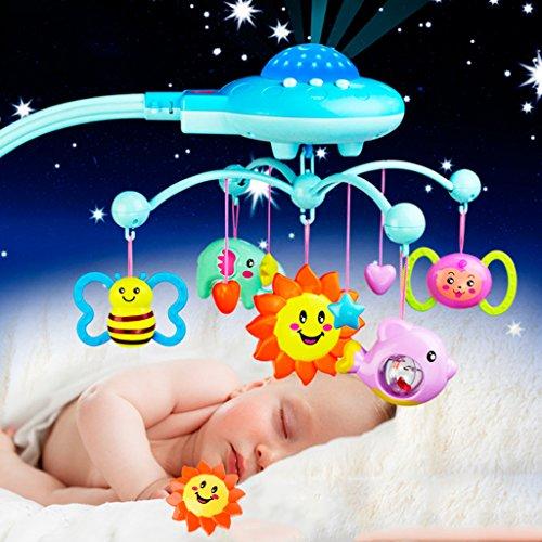 Girasool Baby-Bettglocken-Spielzeug, Spieluhr für Babys, Musik, Kunststoff, zum Aufhängen, Rasseln mit Sternen, Licht zum Blinken, Spieluhr für Kinder Neugeborene und Kleinkinder