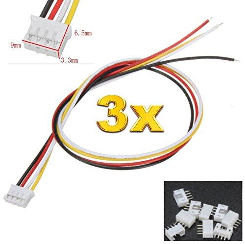 Micro-jst-anschluss (Premium 4Pin 2.0 PH 2.0mm Mini Micro JST Stecker inkl. 15cm 28AWG Kabel + Buchse Lose von Mr. Stecker Modellbau® (3x Sätze))