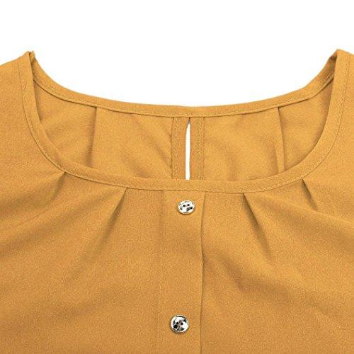 Bluestercool Femmes Chemisier à Manches longues en Mousseline Mode Shirt Jaune