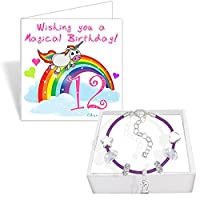 Girls 12th Birthday Leather Charm Bracelet and Unicorn Birthday Card Gift Set (6. Purple)
