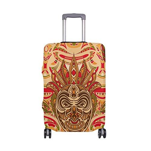 COOSUN Retro bunten Stammes- Masken-Druck-Reise-Gepäck-Schutzabdeckungen Waschbar Spandex Gepäck Koffer Cover - Passend für 18-32 Zoll L 26-28 in Mehrfarben