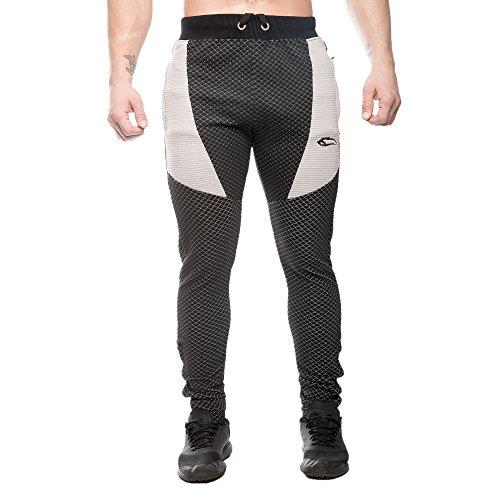 SMILODOX - Pantaloni da jogging, da uomo, aderenti, pantaloni da allenamento per sport, fitness, palestra e tempo libero, pantaloni sportivi, da jogging, da tempo libero, lunghi Nero/Grigio