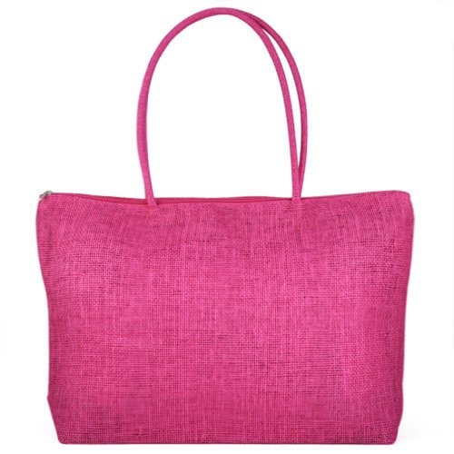 TOOGOO(R) Feminin Paille Tricot Plage Sac a Main d'Ete Shopping Voyage Zippe Sac -rose rouge