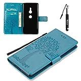 Huphant Compatible for Sony Xperia XZ2 Hülle, Sony Xperia XZ2 Tasche Leder, Huphant Flip Case Leder Case Wallet Case Magnet Case Schutzhülle Klappbar für Sony Xperia XZ2 (5,7 Zoll) - Blau