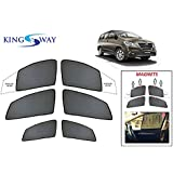 Kingsway kkmmsshf00098 Half Magnetic Sun Shades/Curtains for Toyota New Innova Crysta (Black, Pack of 6)