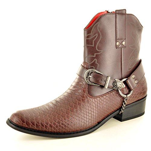 Cowboy Stiefel Braun (Stiefeletten, Herren, Schlangenhaut, Reißverschluss, Western-Cowboy, Braun - dunkelbraun - Größe: 45 EU)
