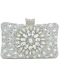 WENDYRAY Femmes éblouissante Argent Cristal Fleur Soirée Bourse En Métal Argent Pochette Sac Pour Mariage De Noce Fourre-Tout…