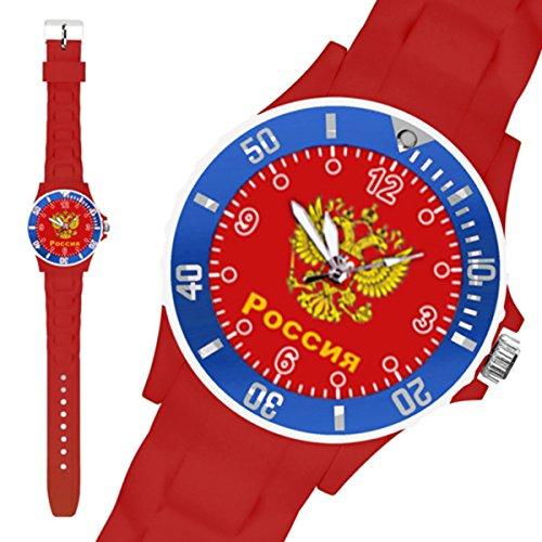 Taffstyle Fanartikel Silikon Armbanduhr Gummi Trend Watch Quarz Fan Uhr mit Fussball Weltmeisterschaft WM & EM Europameisterschaft 2016 Länder Flaggen Style - Russland