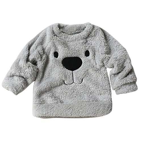 Thick Sweater Coat Lovely Cartoon Bear Children Baby Infant Warm Fleece Blouse T-Shirt (1-2 Years, Gray)
