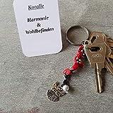 Schlüsselanhänger, Taschenbaumler, Kettenschmeichler, Naturperle Koralle, Tatting, Occhi