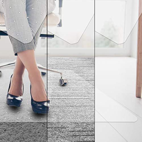 etm Bodenschutzmatte Universell - transparent, ergonomisch, Kratzfest - als Unterlage Bürostuhl, Schutzmatte Boden, Unterlegmatte Fitnessgerät (Variante: für Hartboden, 100x120 cm)