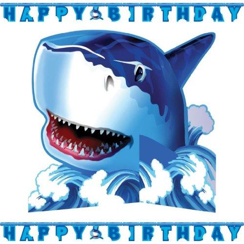 Happy Birthday Partykette * HAIE * für Party und Geburtstag // Wimpelkette Girlande Banner Hai Haifisch Shark Fische [GRUNDPREISANGABE: 2,24 Euro/m]