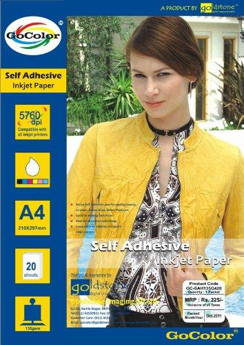 Gocolor Self Adhesive Inkjet Photo Paper 135 GSM A4 20 Sheet