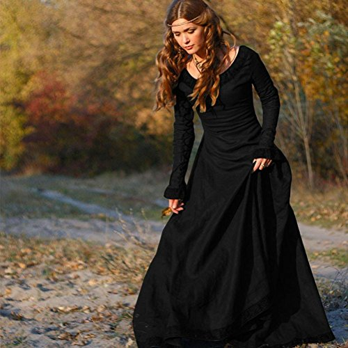 Robe Femmes, Fulltime® Femmes Vintage robe médiévale Cosplay Costume Princesse Renaissance gothique robe Noir